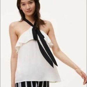 🆕🥀LOFT White & Black Ruffle Halter Top - XS 🥀
